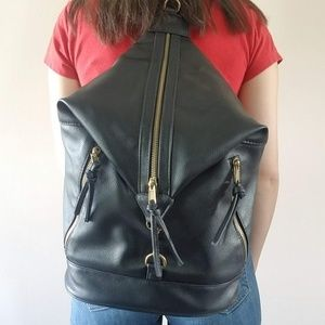 Black Vegan Leather Purse Backpack